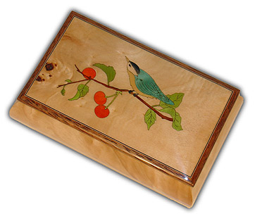 Adorable Blue Bird Music Box with A Cherry Tree Plays 30 Note Movement with 30 Note Tune-You Raise Me Up