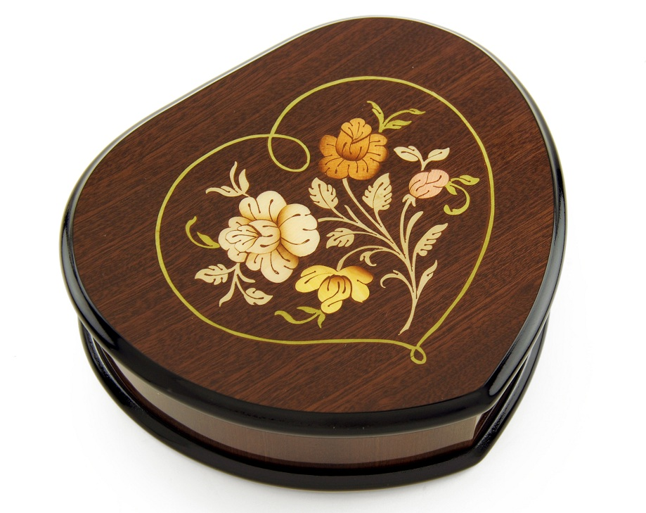Elegant Wood Tone Heart Shaped Music Jewelry Box with Floral in Heart Frame Inlay Design with 18 Note Tune-Cup of Life (The World Cup 98' France) - SWISS