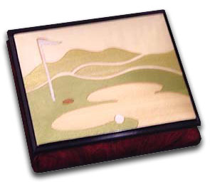 Olmo Wooden Golf Course Reuge Musical Jewelry Box with 18 Note Tune-We Are the Champions