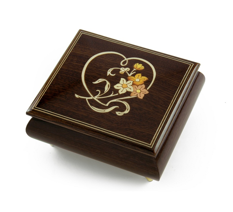 Delightful Warm Wood Tone Musical Jewelry Box with Floral and Heart Outline Inlay with 18 Note Tune-I Love You Truly