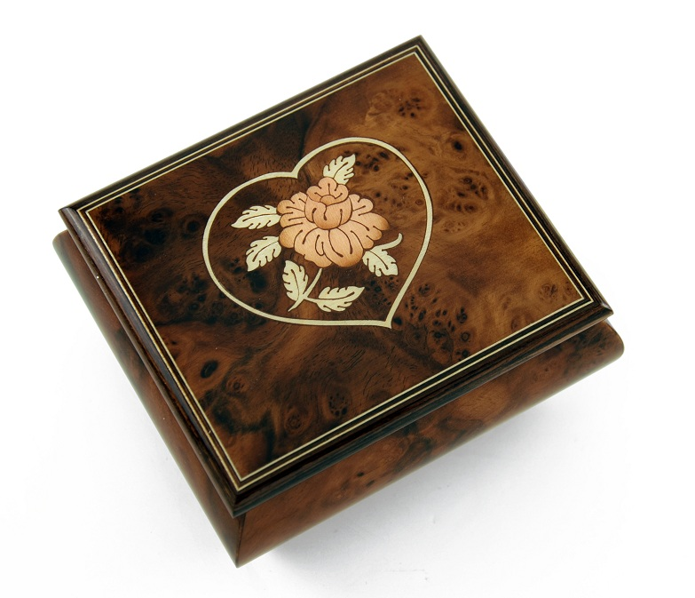 Charming Burl-Walnut Flower in Heart Outline Sorrento Musical Jewelry Box with 18 Note Tune-Skaters Waltz, The - SWISS