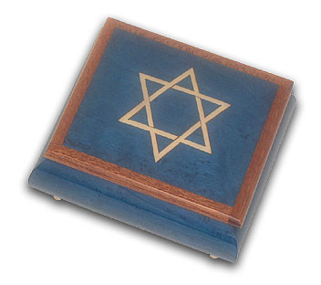 Royal Blue Star of David with Wooden Trim with 18 Note Tune-French Can Can