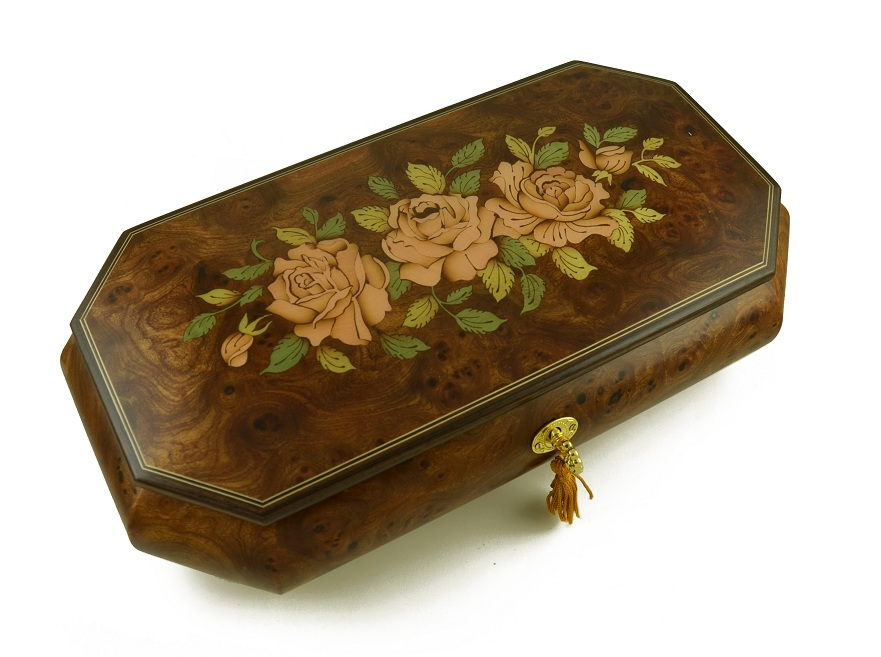 Magnificent Three Pink Roses 36 Note Musical Jewelry Box with 36 Note Tune-Wind Beneath My Wings