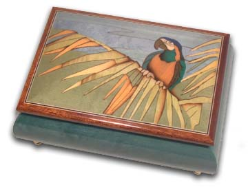 Tropical Parrot on a Palm Leaf Wood Inlay Musical Jewelry Box with 18 Note Tune-Pas de Deux (Swan Lake) - SWISS