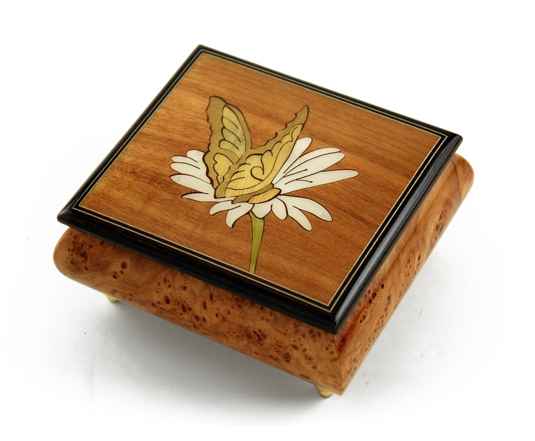Gorgeous Natural Wood Tone Butterfly and Daisy Inlay Music Box with 18 Note Tune-Silver Bells