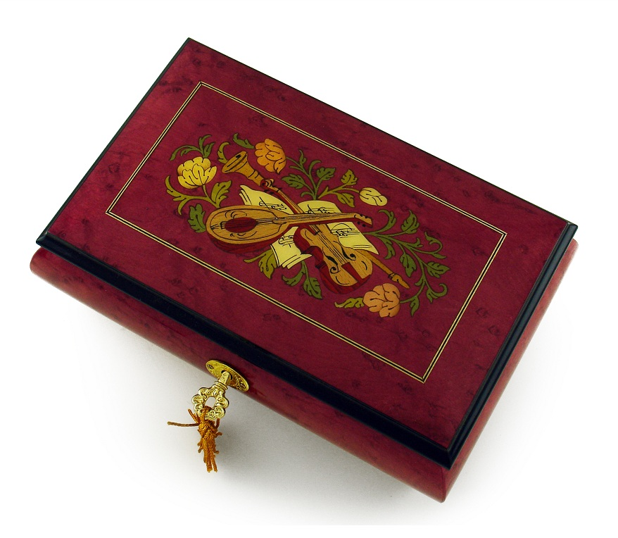 Gorgeous Red Wine Instrument and Floral Wood Inlay Musical Jewelry Box with 18 Note Tune-French Can Can