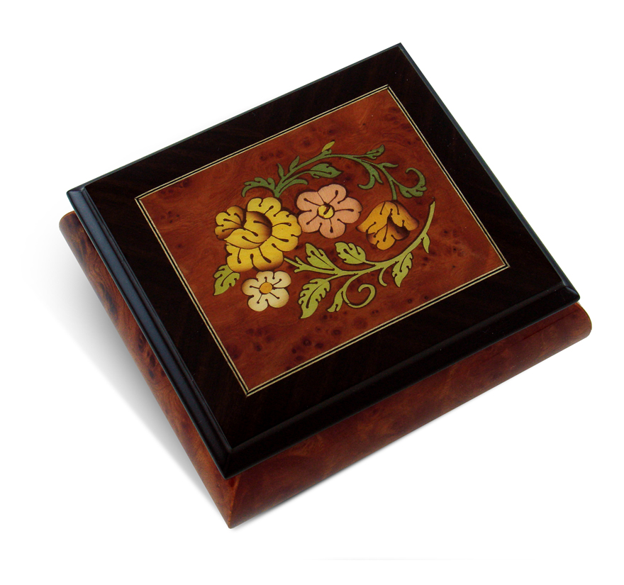 Radiant Floral Glossy Wood Inlay Box with Rosewood Border, Classy & Beautiful with 18 Note Tune-Pomp & Circumstance