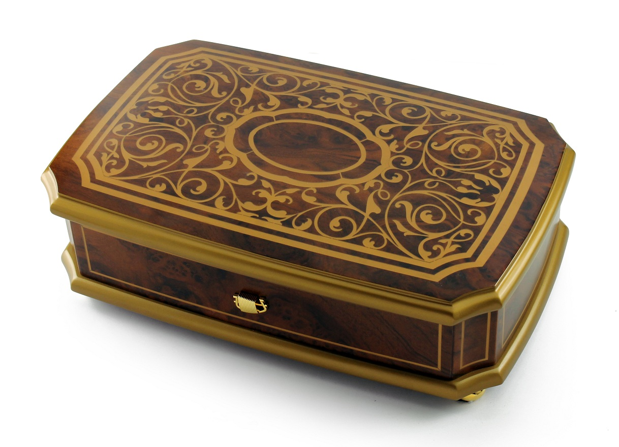 Grand Gold and Natural Wood Tone 72 Note Royal Arabesque Music Box with Sankyo 72 Note Tune-Polonaise (Till the End of Time), Tristesse, Impromptu (F. Chopin)