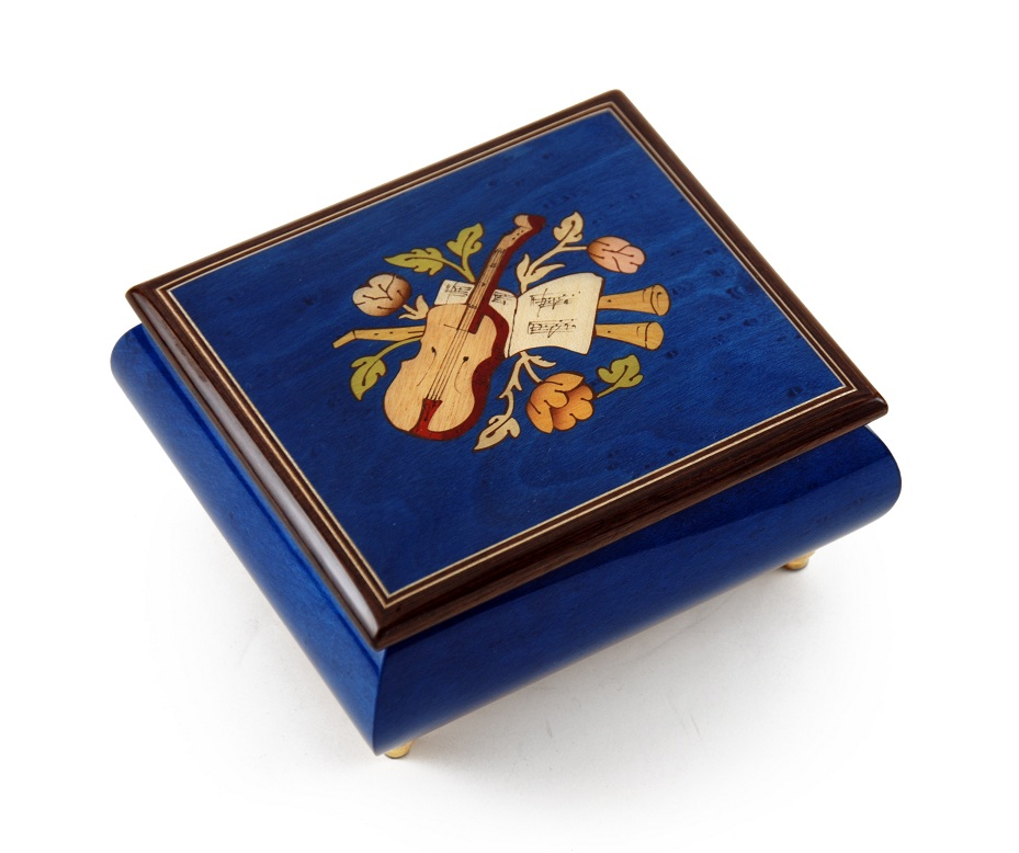 Inspiring Royal Blue Music Theme with Violin Wood Inlay Music Box with 18 Note Tune-Only You