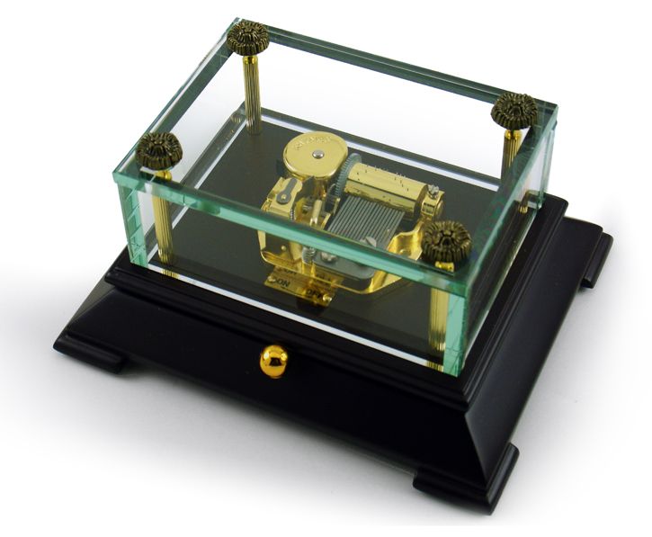 Exclusive Crystal Music Box w. Contemporary Wooden Base OVERSTOCK PRICE with 18 Note Tune-Oh What a Beautiful Morning