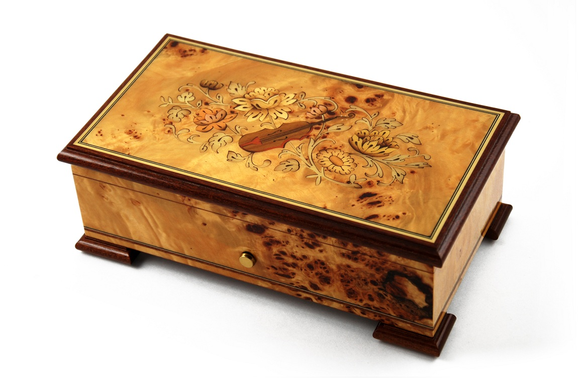 Magnificant Sankyo 72 Note Pioppo Music Box with Violin and Floral Inlay with Sankyo 72 Note Tune-Blue Danube, Lara's Theme, Edelweiss