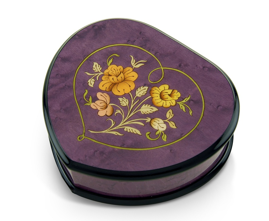 Elegant 30 Note Lavender Heart Shaped Music Jewelry Box with Floral in Heart Frame Inlay Design with 30 Note Tune-Oh Christmas Tree