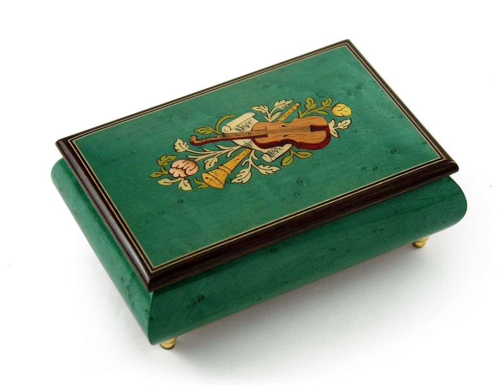 Brilliant Handcrafted Mint Green Musical Instrument Theme Wood Inlay Music Box with 18 Note Tune-Somewhere In Time