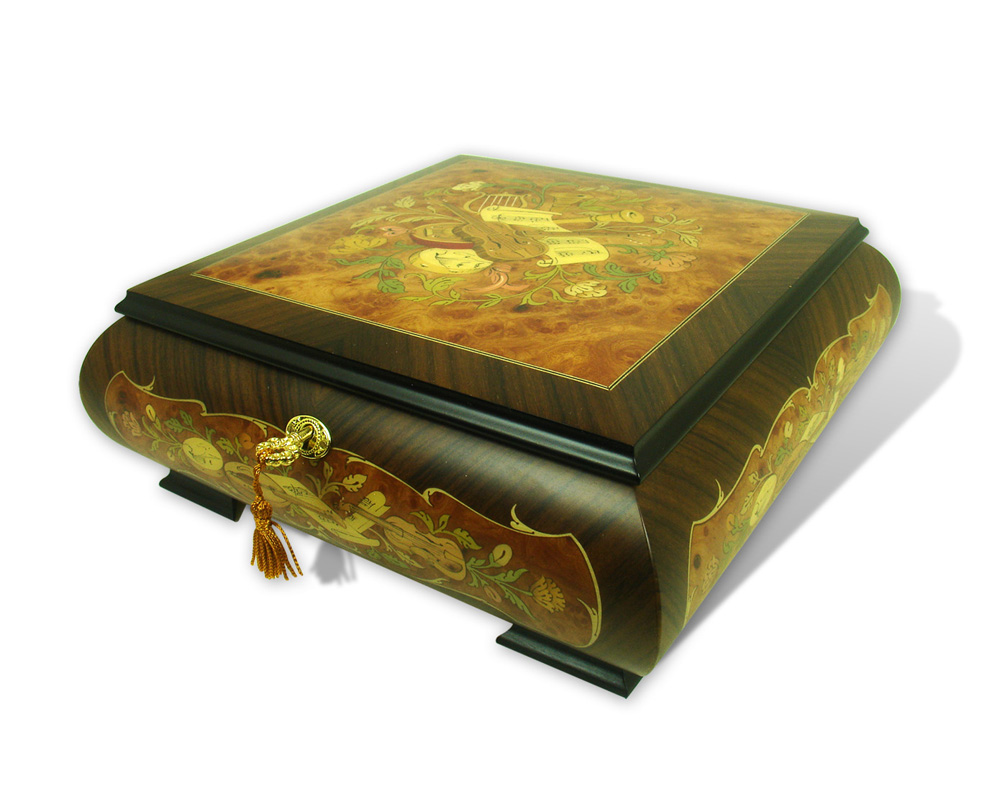 Hand Made Sorrento 18 Note Musical Jewelry Box featuring Floral and Instrument Theme Inlay with 18 Note Tune-All I Ask of You