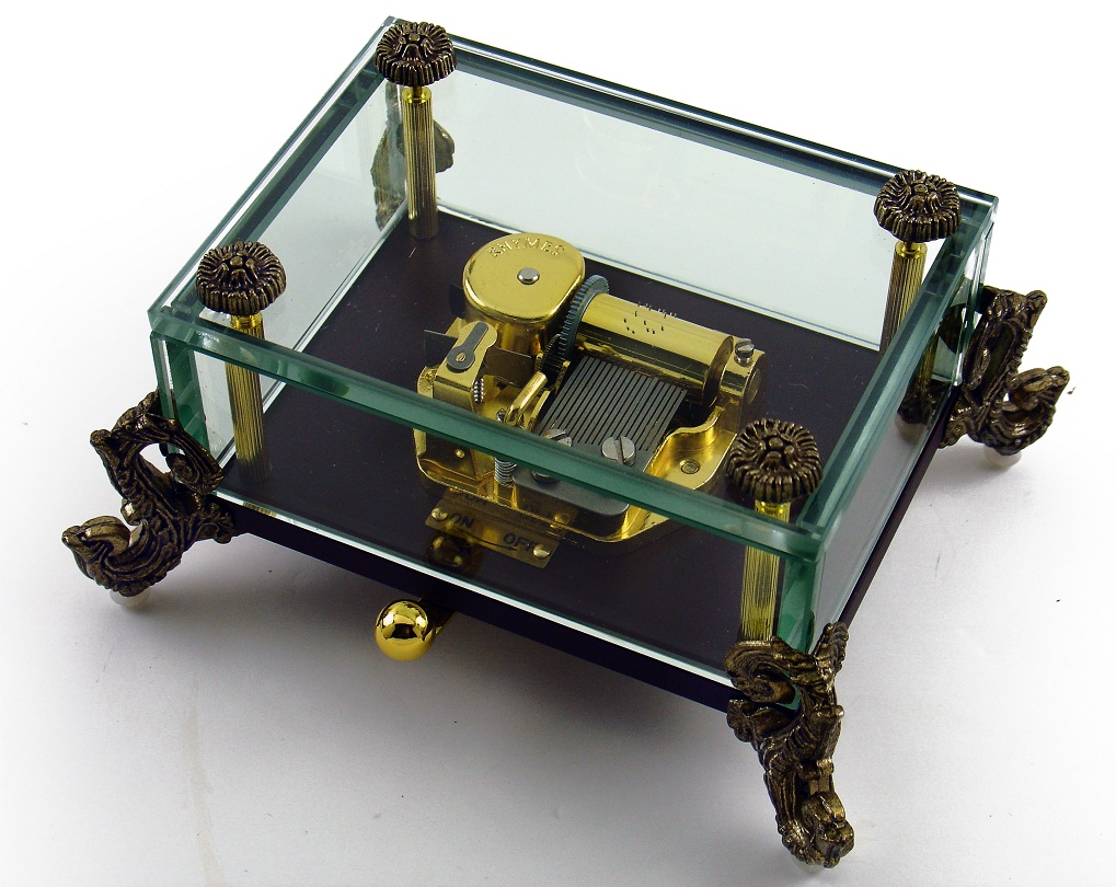 Alluring 18 Note Crystal Music Box with Detailed Dragon Feet with 18 Note Tune-King of My Love (Psalm 23)