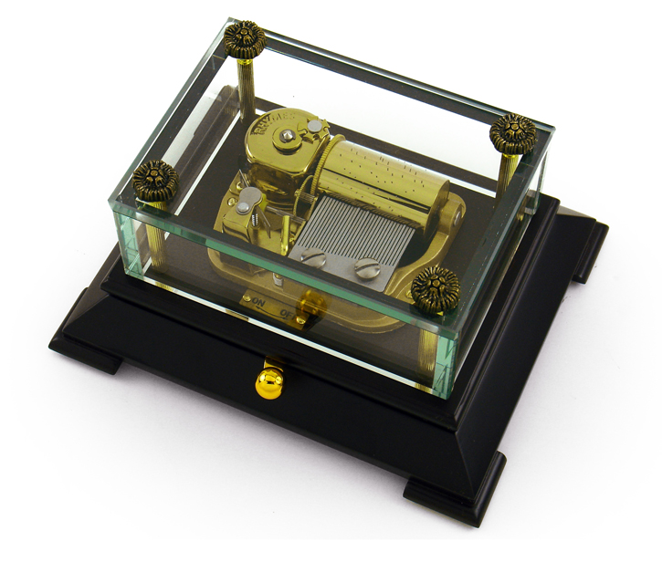 Exclusive 30 Note Crystal Music Box with Contemporary Wooden Base with 30 Note Tune-Greensleeves