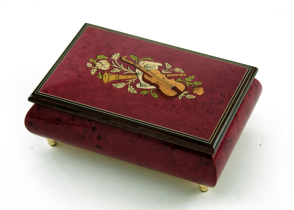 Astonishing Handcrafted 30 Note Red Wine Musical Instrument Theme Wood Inlay Music Box with 30 Note Tune-Wonderful Tonight