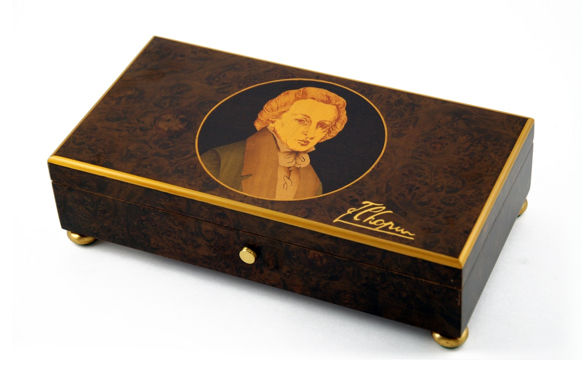 "Rare 50 Note ""Frederic François Chopin"" with Gold Leaf Accents Music Box with SWISS 50 Note Tune-Memory"