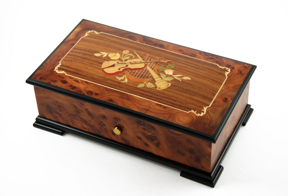 Magnificent Swiss 72 Note Burl-Elm Music Box with Musical Instrument Theme Inlay with SWISS 72 Note Tune-Serenade - 3 parts