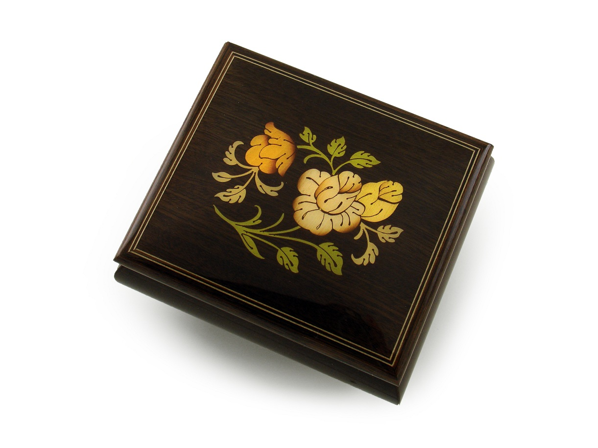 Charming Rosewood Floral Wood Inlay Music Box with 18 Note Tune-Anchors Aweigh - SWISS