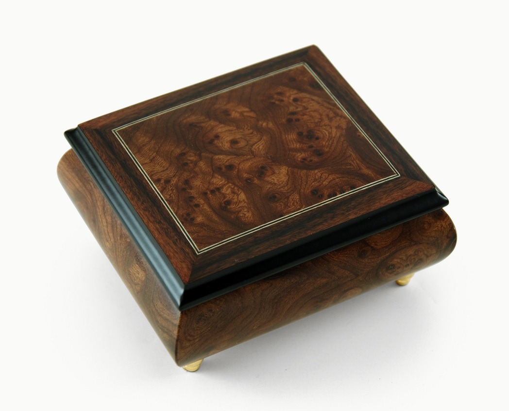 Classic Style Burl-Elm with Rosewood Border Music Box with 18 Note Tune-Oh What a Beautiful Morning