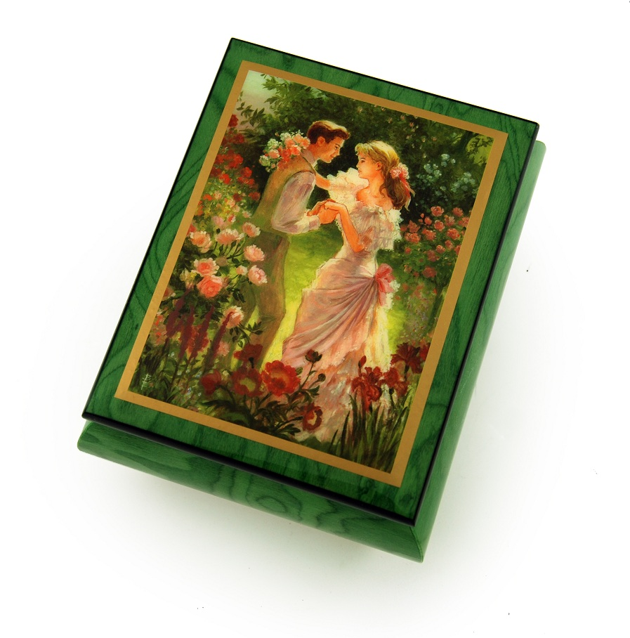 "Alluring Forest Green Ercolano Music Jewelry Box  – ""Summer's Meeting"" by  Brenda Burke with 18 Note Tune-My Way  – SWISS"