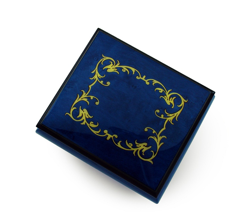 Classic Royal Blue Arabesque Wood Inlay Music Box with 18 Note Tune-Part of Your World