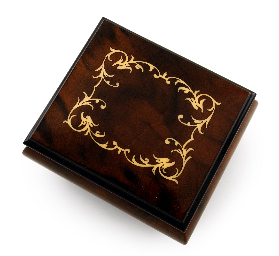 Classic Walnut Stain Arabesque Wood Inlay Music Box with 18 Note Tune-Moldau, The