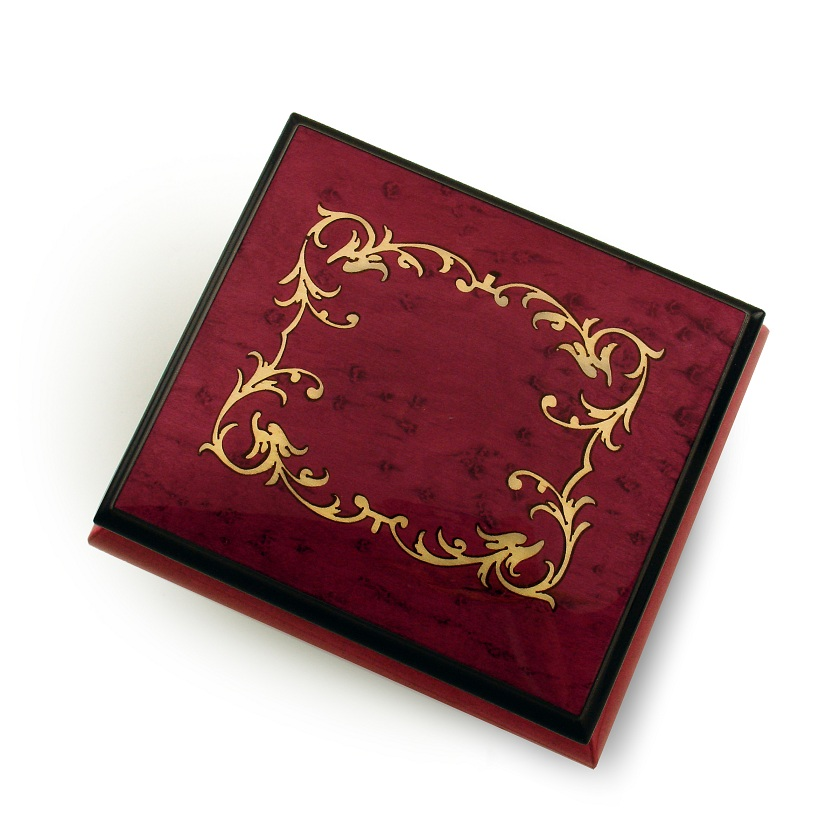 Classic Red Wine Arabesque Wood Inlay Music Box, Quality & Beauty of Sorrento Italy with 18 Note Tune-Up Where We Belong - SWISS