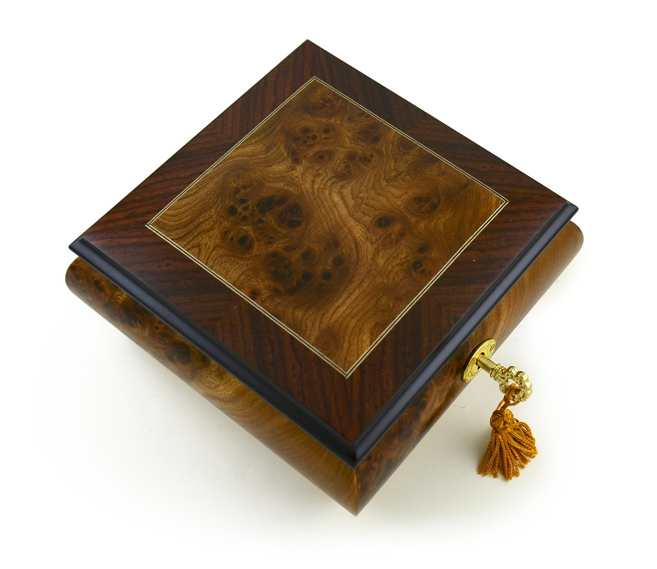 "Contemporary Hand-Made ""Classic"" Wood Inlay Music Box with 18 Note Tune-Through the Eyes of Love – NEW"