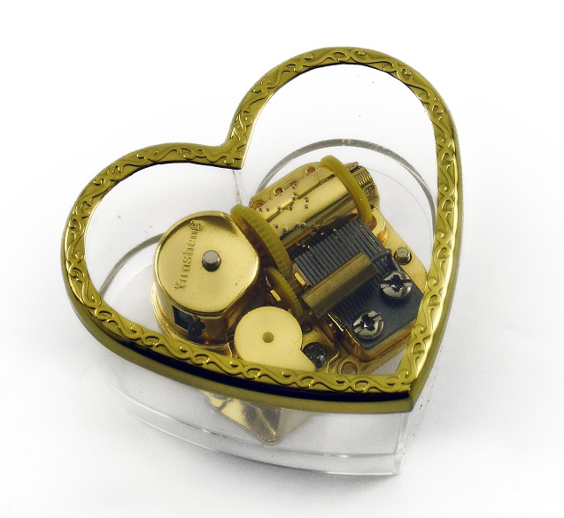 Charming Heart Shaped Acrylic Photo Musical Paper weight with 18 Note Tune-Imagine
