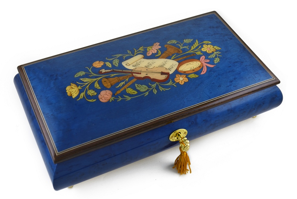 Beautiful Royal Blue Instrumentl and Floral Wood Inlay Music Box with 18 Note Tune-How Great Thou Art