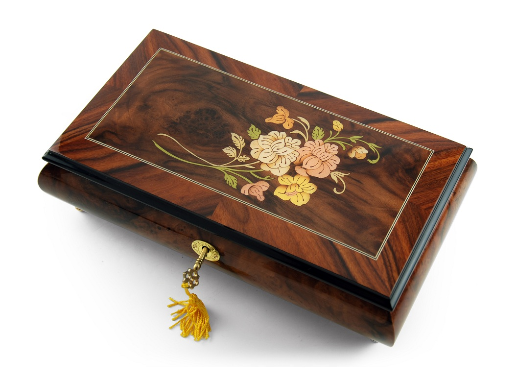 Gentle Roses with Rosewood Frame Musical Jewelry Box with 18 Note Tune-Bolero