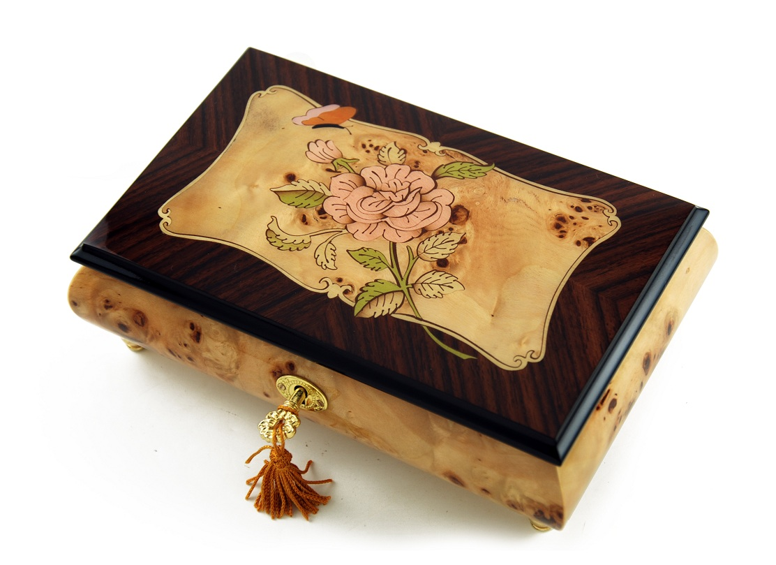 Harmonious 30 NoteSingle Pink Rose and Butterfly with Rosewood Frame Music Box with 30 Note Tune-Chariots of Fire
