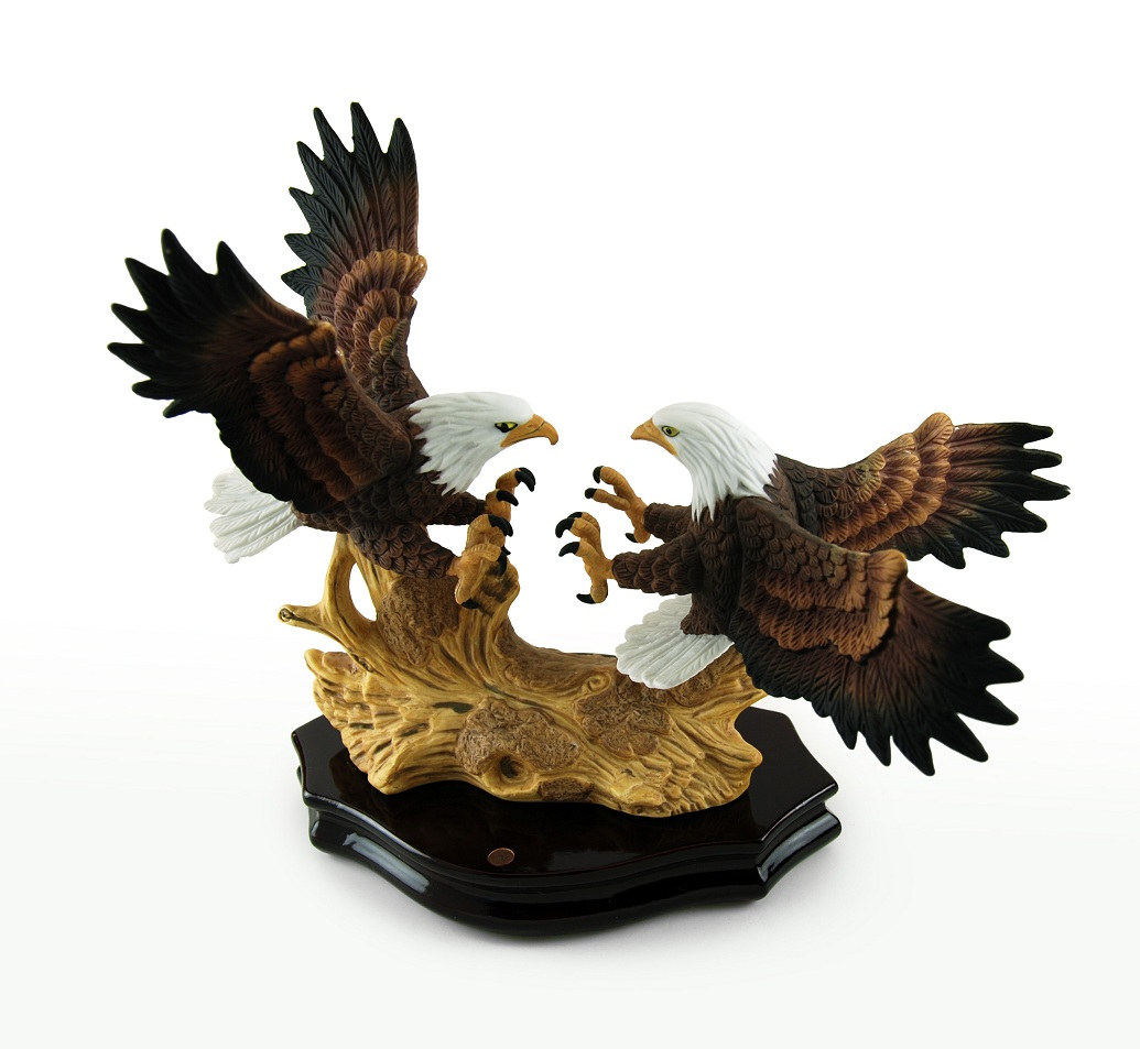 2 Fierce American Bald Eagles on Rosewood Base Musical Figurine with 18 Note Tune-Love Story (Love Story the Movie)