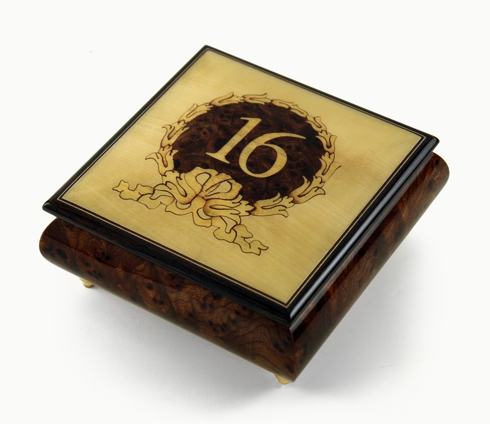 Sweet 16 Centered in Gold Wreath Sorrento Inlaid Music Jewelry Box with 18 Note Tune-Pennies from Heaven