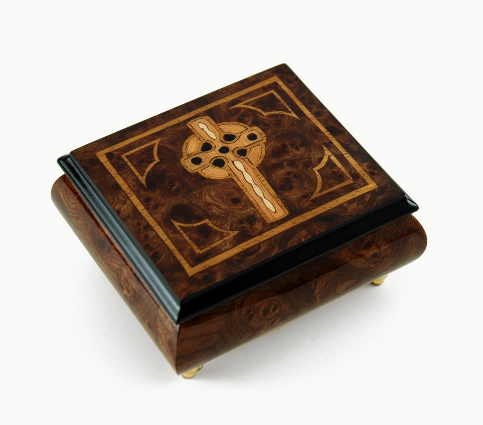 Elegant Handcrafted Italian Celtic Cross Inlaid Music  Box with 18 Note Tune-Only You