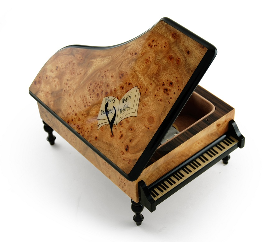 Handcrafted Italian Grand Piano Sorrento Music Box with Sheet Music Inlay with 18 Note Tune-Heaven is in Blue Hawaii (Paul Koy) - SWISS