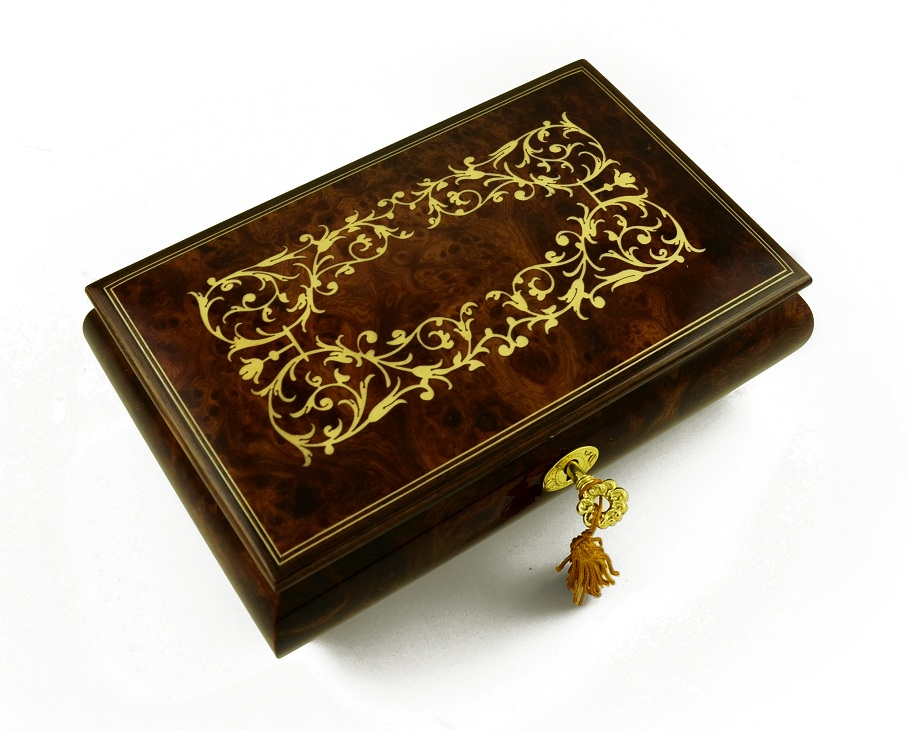 Contemporary Italian Musical Jewelry Box with Arabesque Design with 18 Note Tune-Greensleeves