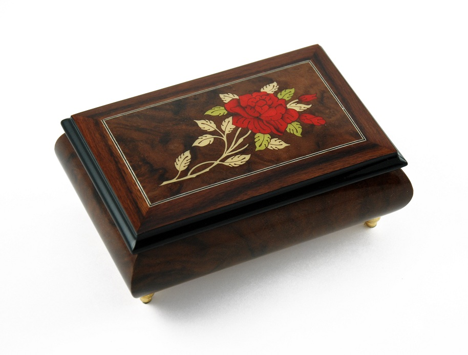 Radiant Single Stem Red Rose with Rosewood Frame Musical Jewelry Box with 18 Note Tune-Somewhere In Time
