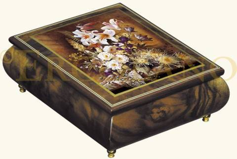 Ercolano Art Musical Jewelry Box Called White Glory By Brenda Burke with 18 Note Tune-Home on the Range