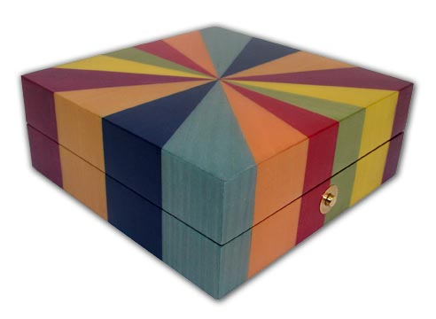 Ercolano Hand Inlaid Rainbow Star Jewelry Box with Click here to purchase engraving services-Do not provide an engraved plaque