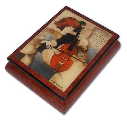 Girl Playing On Violin Theme Inlaid Ercolano Art Music Box with 18 Note Tune-On the Wings of Love
