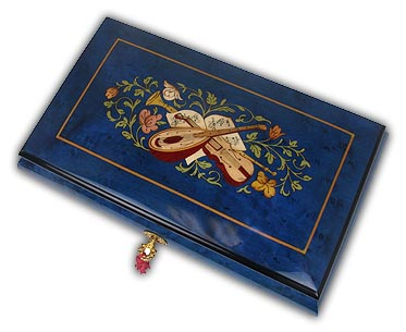 Gorgeous Musical Instrument Inlayed Sorrento Musical Jewelry Box-36 Note with 36 Note Tune-Wind Beneath My Wings