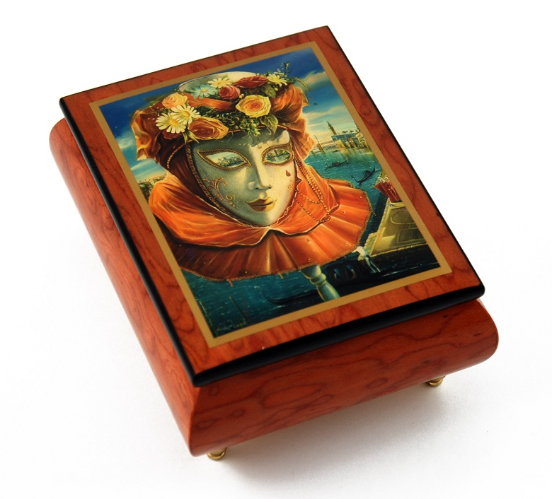 "Festive Painted Ercolano Music Box of a Carnival / Venetian Mask titled ""Memories of Summer"" with 18 Note Tune-12 Days of Christmas – SWISS"