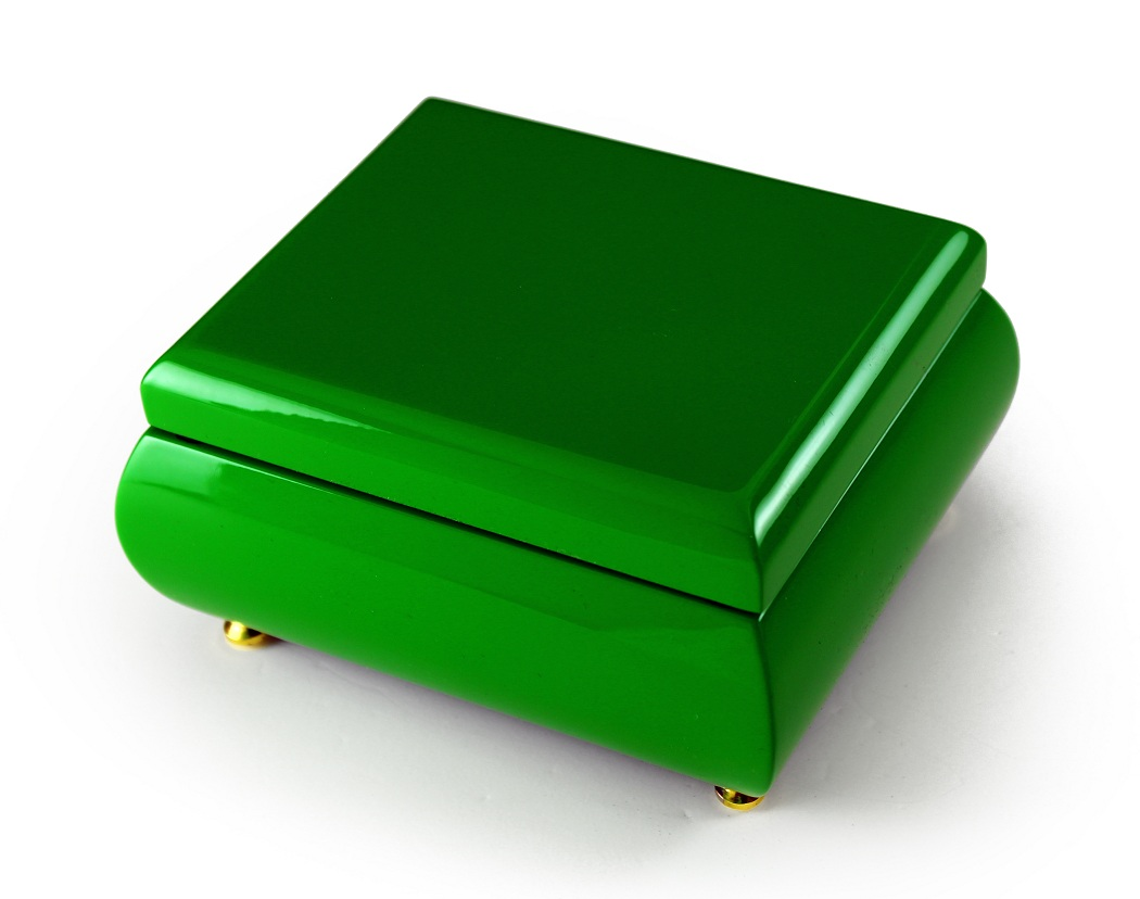 Radiant Hi Gloss Candy Apple Green Musical Jewelry Box with 18 Note Tune-Wedding March (Mendelssohn)