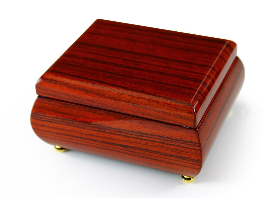 Alluring Hi Gloss Rosewood Simple Design Music Jewelry Box with 18 Note Tune-America the Beautiful