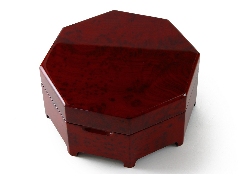Enchanting Octagonal Zen Inspired Classic Toned Musical Jewelry Box with 18 Note Tune-Masquerade