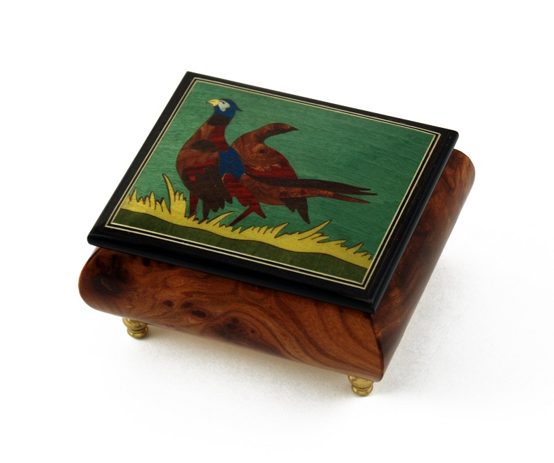 Handcrafted Birds Theme Italian Music Box with Pheasant Inlay with 18 Note Tune-Fly Me to the Moon