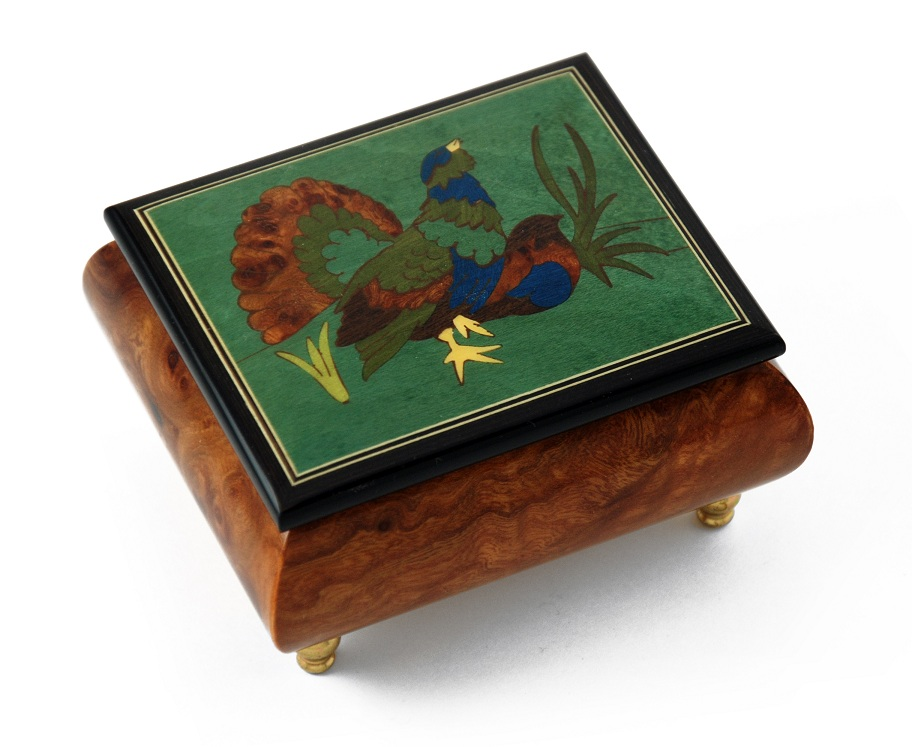 Handcrafted Birds theme Italian Music Box with Grouse Inlay with 18 Note Tune-Dance of the Sugar Plum Fairy (Nutcracker Suite